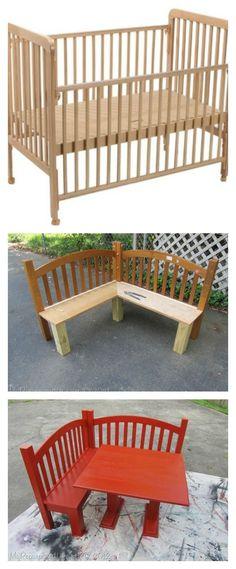 DIY Kids Corner Bench and Table Set -Upcycled Crib Idea