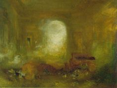 William Turner - Interior at Petworth   c. 1837; Oil on canvas, 91 x 122 cm; Tate Gallery, London.