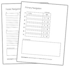 Navigation Worksheets. Use this kit to help control scope and manage your client conversations, or simply use it as a tool for developing designs and websites faster.    The kit is intended to be printed. Some items can be laminated for re-use, and others should be left as one-time paper artifacts. The information below outlines each part of the kit, what it's used for, and how to assemble it.