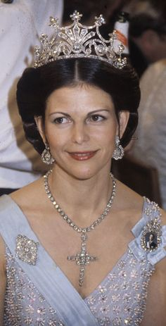 Queen Silvia wearing Queen Sophie's (Nine-Prong) Diamond Tiara, Sweden (late 19th c.; diamonds).