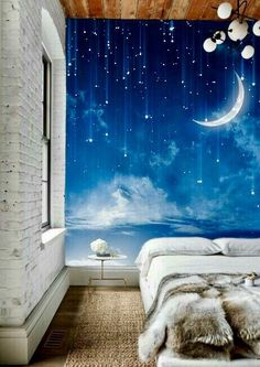Moon Sky Wallpaper Mysterious Moonlit Wall Mural by DreamyWall - Sydney room or reading area