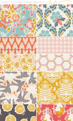 so many pretty fabrics!!! - sweet as honey fabric collection by bonnie christine