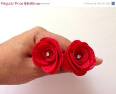 Glitter Red Ponytail Holders . Canada ponytail . by MeghanandJulie, $4.00