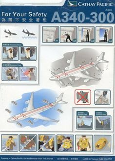 Airline Memorabilia - Safety Cards - Page 1 Safety Instructions, Cathay Pacific, Travel Posters, Aviation, Aircraft, Gallery Wall, Airplanes, Hong Kong, Cards