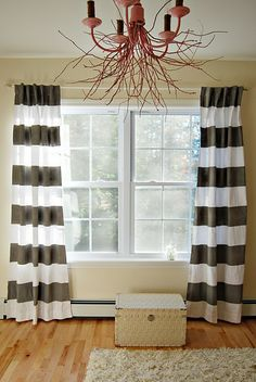 Ikea Curtains with a simple DIY painted stripe.... must try! Navy stripe for the bedroom?