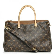 This is an authentic LOUIS VUITTON Monogram Pallas in Havane. This chic tote is crafted of Louis Vuitton monogram on toile canvas with wide sides that gather and pleat at the top.