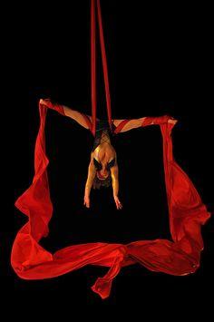 Aerialist, Lucky De Souza, in rehearsal. Dave Clendenan