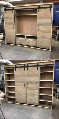 Check out this image that is all about showing you out with the pallet designing of the cabinet with the enclosing taste of the closet access inside it. It is casually added with the elegant pallet color hues inside it that is so creative and mind-blowing looking in impression. Diy Furniture, Garage Doors, Furniture, Carriage Doors