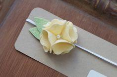 Anika In Butter Felt Flower Headband All by hopscotchboutique, $10.00