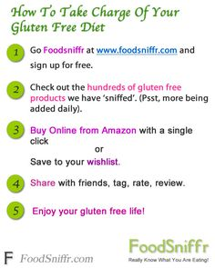 Take Charge Of Your Gluten Free Diet -         Take Charge Of Your Gluten Free Diet – FoodSniffr.com Take charge of your gluten free diet at FoodSniffr.com. Discover how healthy or not these foods are. Buy Online from Amazon with a click.  More From FoodSniffr.com: Clean, healthy foods and ingredients, handpicked, vetted.  Get Healthy Snacks, Breakfast Foods, Meals, Kitchen Essentials here G