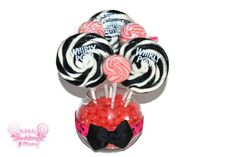 Pink and Black Lollipop Centerpiece, Candy Centerpiece, Skull Detail, Sweet Sixteen Centerpiece, Bridal Shower Centerpiece on Etsy, $24.99