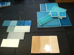 Bathroom, kitchen and fireplace tile palettes