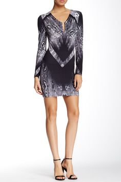 Silk & Leather Back Reptile Print Dress by Sky on @HauteLook