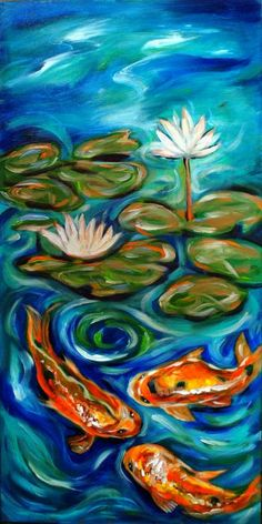 Three Koi Painting - Three Koi Fine Art Print