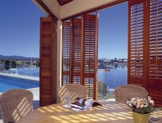 These cedar window shades can transform your space from indoor to outdoor.  from Western Red Cedar Lumber Association