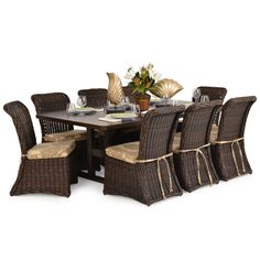 Maldives 9pc Outdoor Wicker Patio Dining Set With Images