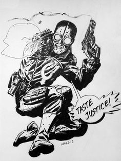 Lobster Johnson by Brian Level  Ink 9×12  *SOLD*