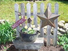 Country Garden & Patio, This Country Patio features tumbled pavers, sandstone, flowers,antiques and handmade items. , Fence in garden , ...