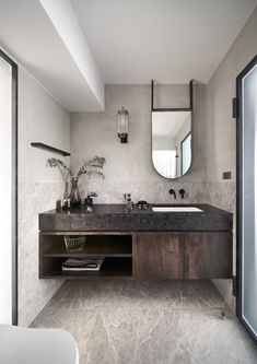 How can I not love wooden vanity ? Under mount basin with top granite countertop in black matches with antique wooden. Modern Bathroom Decor, Bathroom Styling, Bathroom Interior Design, Modern Interior Design, White Bathroom, Balinese Interior, Layout, Luxury Homes Interior, Design Studio