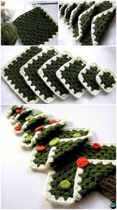 Crochet Vintage Granny Square Christmas Tree Free Pattern Instruction - #Crochet Christmas Tree Free Patterns
