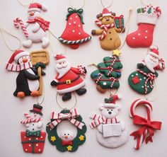 New Craft Clay Ideas Dough Ornaments 20 Ideas Polymer Clay Ornaments, Sculpey Clay, Polymer Clay Miniatures, Polymer Clay Projects, Polymer Clay Creations, Polymer Clay Jewelry, Clay Earrings, Clay Christmas Decorations, Polymer Clay Christmas