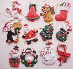 New Craft Clay Ideas Dough Ornaments 20 Ideas Polymer Clay Ornaments, Sculpey Clay, Polymer Clay Miniatures, Polymer Clay Projects, Polymer Clay Creations, Polymer Clay Jewelry, Dough Ornaments, Clay Christmas Decorations, Polymer Clay Christmas