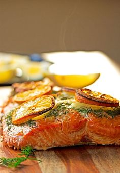 Maple plank salmon with dill butter.