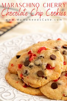 These cherry chocolate chip cookies are made using maraschino cherries and semi-sweet chocolate chips. These cookies are a Valentine's Day perfect treat. #valentinesdaytreats #valentinesdaycookies #cherries #cookies #chocolatechips #chocolatechipcookies #dessert #easycookies #cherrydesserts