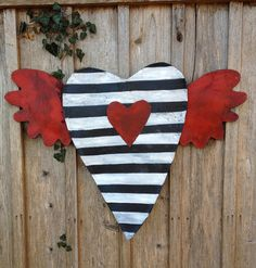 Black White Stripe Valentines Day Heart with Red by doornament, $45.00