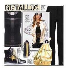 """Metallic & Black"" by beebeely-look ❤ liked on Polyvore featuring Topshop, casual, casualoutfit, metallic, sammydress and bomberjackets"