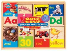 T.S. Shure Match 'N Snap ABC's, 123's, Shapes & Colors by Shure. $26.95. From the Manufacturer                These wooden puzzle cards make basic learning fun. Match each puzzle half together to complete the whole card to learn the alphabet, numbers, shapes and colors. Eight matching cards come packed in handy pine storage box.                                    Product Description                Shure Match 'N Snap ABC's, 123's, Shapes And Colors. Save 10% Off!
