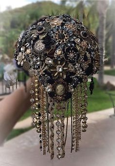 Steampunk Black and Gold Brooch Bouquet - $620