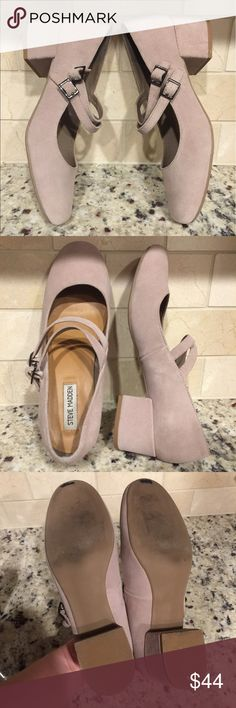 STEVE MADDEN HATALIE SUEDE LEATHER MARY JANE HEEL Adorable!  Minimal wear.  Light taupe in color with almost a pink undertone in my opinion, but I would definitely call this light taupe.  Size 9.5.  Adorable double strap! Steve Madden Shoes Heels