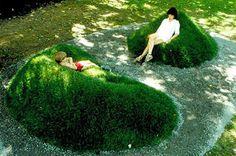 grass ground mound seating