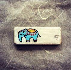 Elephant fridge magnet. Rustic and simple.