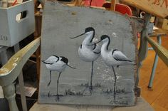 Avocettes sur bois flotté gris Tole Painting, Painting On Wood, Painting & Drawing, Watercolor Paintings, Painted Boards, Painted Rocks, Driftwood Art, Bird Art, Animal Paintings
