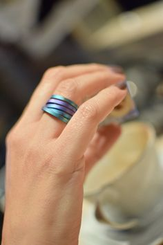 Enjoy your coffee with our best seller titanium ring in blue and purple shades! You can find it in our etsy shop in multi color shades (link in bio) Titanium Jewelry, Titanium Rings, Greek Jewelry, Wide Rings, Color Ring, My Collection, Band Rings, Rings For Men, Handmade Jewelry