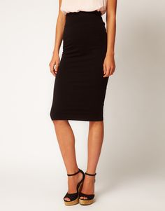 Black Tube Pencil Skirt jersey stretch