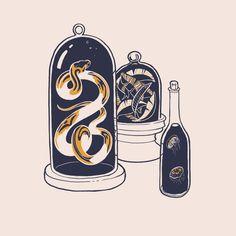 Cabinet of Curiosities , an art print by Ash Weaver Witch Bottles, Glass Bottles, Yellow Snake, Japanese Woodcut, Snake Art, Navy Gold, Occult, Inktober, Blackwork