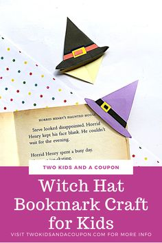 This fun witch hat bookmark can help your child mark their place in their favorite books after the project is done. Here is how to make it! Cute Kids Crafts, Halloween Crafts For Kids, Halloween Activities, Halloween Themes, Halloween Fun, Crafts To Make, Halloween Parties, Halloween Decorations, Scary Books For Kids