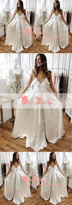 SWEET OFF WHITE HANDMADE FLOWERS SPAGHETTI STRAP A-LINE FOR TEENS LONG PROM DRESSES. DB1044