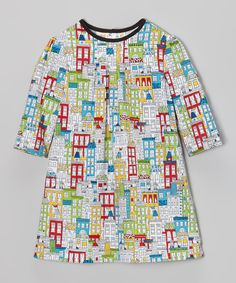 Take a look at this Lilla Barn White & Green City Puff-Sleeve Dress - Toddler on zulily today!