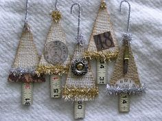 DIY: Vintage Christmas Ornaments - she lists materials used to make these vintage-looking ornaments, including chip board, tinsel and burlap - via Honey Girl Studio Burlap Christmas Tree, Noel Christmas, Rustic Christmas, Handmade Christmas, Vintage Christmas, Swedish Christmas, Christmas Swags, Handmade Ornaments, Diy Christmas Ornaments