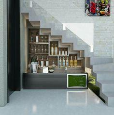 17 Ideas Home Bar Designs Under Stairs Bar Under Stairs, Under Stairs Wine Cellar, Kitchen Under Stairs, Closet Under Stairs, Space Under Stairs, Style At Home, Home Styles Exterior, Home Bar Designs, Modern Stairs