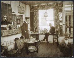 New York's Greenwich Village in the 1910s and 1920s Teddy Peck (left) and Romayne Benjamin (right) in their retail shop, The Treasure Box, ca. 1918-1920.