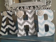 the french flea: Large Chevron Initials in Etsy Shop and Follow by Email!