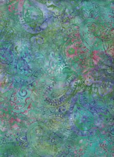 "Amazon.com - Blank Quilting Sumatra Turquoise wih Purple & Pink Paisley Batik 6653 ~ HALF YARD ~ Turquoise Quilt Fabric 100% Cotton 45"" Wide..."