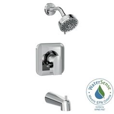 MOEN Genta 1-Handle Wall-Mount Tub and Shower Faucet Trim Kit in Chrome (Grey) (Valve not Included)