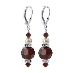 """Sterling Silver 10mm Round Garnet Crystal 5mm White Imitation Pearl Earrings Made with Swarovski Elements Gem Avenue. $13.99. .925 Sterling Silver Leverback Finding. 1.1"""" Dangle Earrings. Rondell Beads Accents. Gem Avenue sku # BHER034. Made with Garnet Swarovski Elements"""