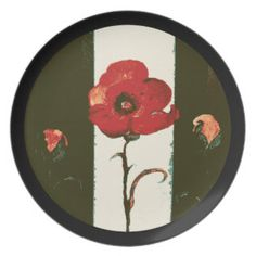 Halfton Red Painted Poppy & Buds Circle Dinner Plate